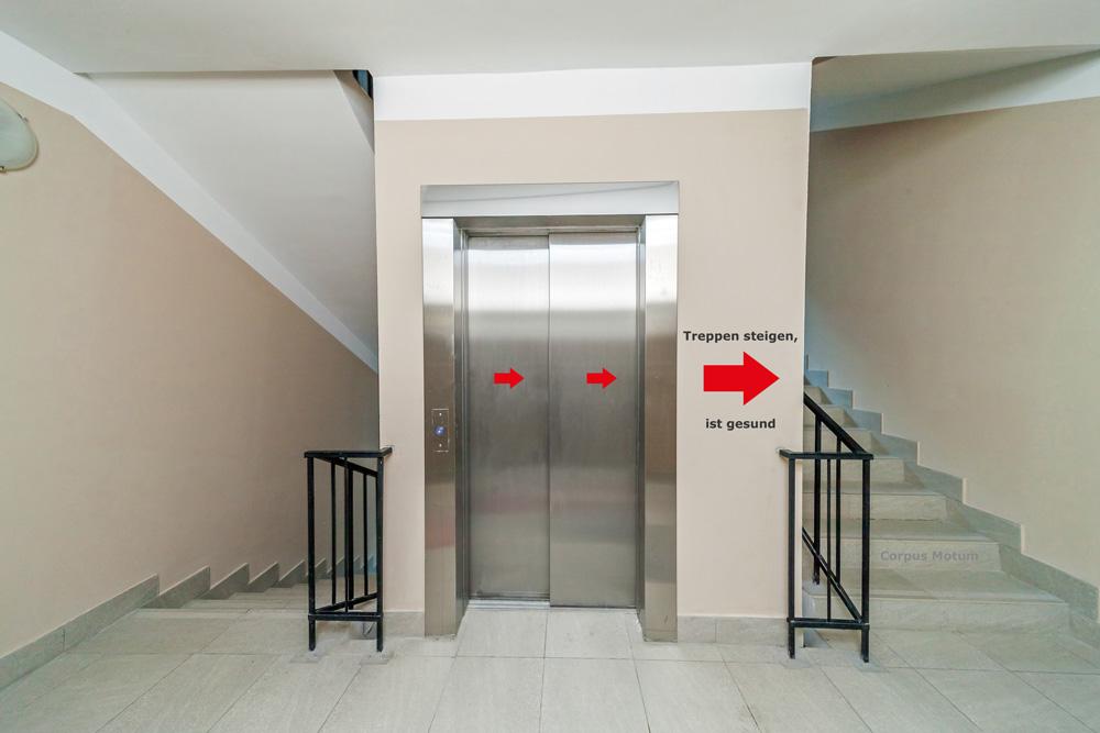 Firmenfitness Treppe statt Lift